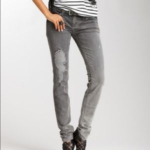 Current Elliott Gray Bleach Out Ripped Jeans